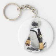 Little  Penguin Wearing Hockey Gear Keychain
