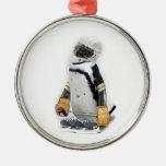Little  Penguin Wearing Hockey Gear Metal Ornament