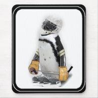 Little  Penguin Wearing Hockey Gear Mouse Pad