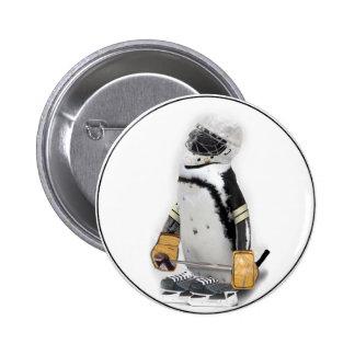 Little  Penguin Wearing Hockey Gear Pinback Button