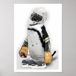 Little  Penguin Wearing Hockey Gear Poster