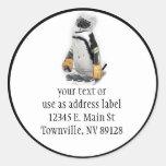 Little  Penguin Wearing Hockey Gear Round Stickers