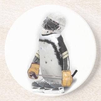 Little  Penguin Wearing Hockey Gear Sandstone Coaster