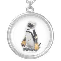 Little  Penguin Wearing Hockey Gear Silver Plated Necklace