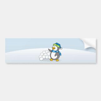 Little penguin with snow balls waving bumper sticker