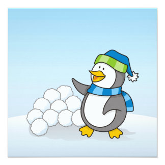 Little penguin with snow balls waving card