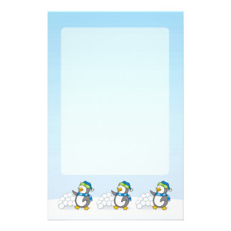 Little penguin with snow balls waving flyer
