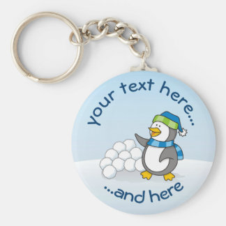 Little penguin with snow balls waving keychain