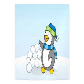 Little penguin with snow balls waving magnetic card
