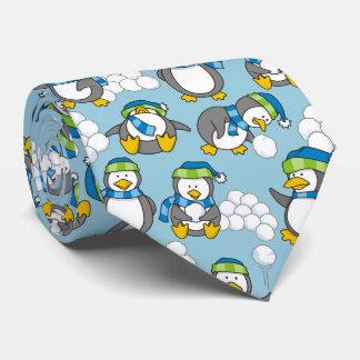 Little penguins background neck tie
