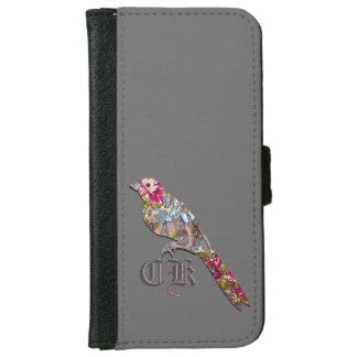 Little Perched Birdie 6/6s  Monogram iPhone 6 Wallet Case