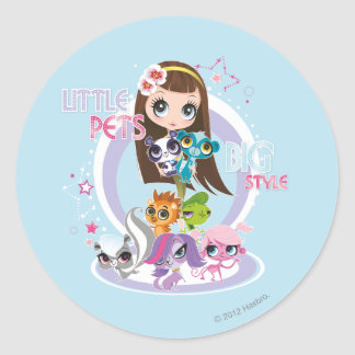 Little Pets Big Style 2 Classic Round Sticker