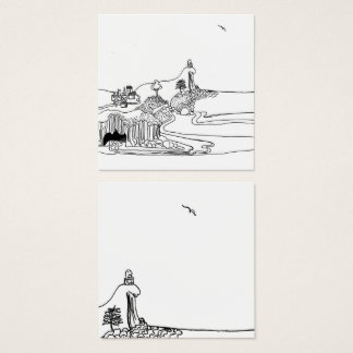 Little philosopher poet illustration square business card