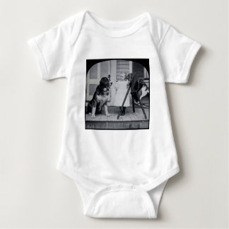 Little Photographer and Her St. Bernard Vintage Baby Bodysuit