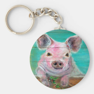 Little Pig Design Basic Round Button Keychain