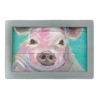 Little Pig Design Rectangular Belt Buckle