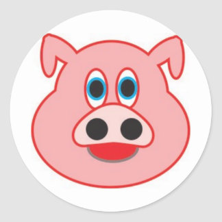 Little pig didactic illustration drawing pedagógic classic round sticker