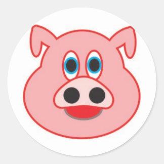 Little pig didactic illustration drawing pedagógic classic round sticker