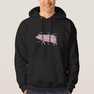 Little Piggie  Funny Pig Butcher Chart Hoodie