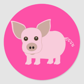 Little Piggie Round Stickers