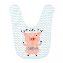 Little Piggy Birthday Boy Baby Bib