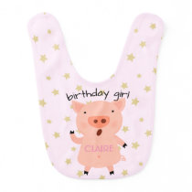 Little Piggy Birthday Girl Baby Bib