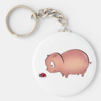 Little Piggy follows Ladybug Basic Round Button Keychain