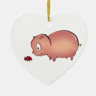 Little Piggy follows Ladybug Ceramic Ornament