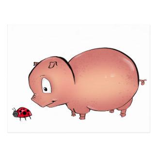 Little Piggy follows Ladybug Postcard