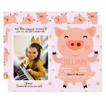 Little Piggy Photo Birthday Party Invitation