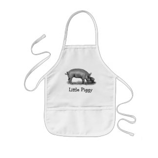 Little Piggy: Pig Eating: Pencil Drawing Aprons