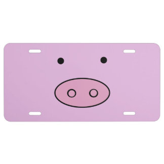 Little Piggy (Pig Face, Pig Nose) - Pink Black License Plate