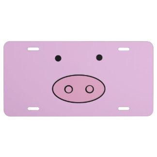 Little Piggy (Pig Face, Pig Nose) - Pink Black License Plate