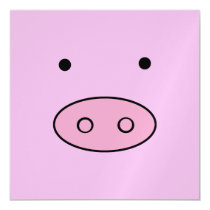 Little Piggy (Pig Face, Pig Nose) - Pink Black Magnetic Card