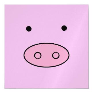Little Piggy (Pig Face, Pig Nose) - Pink Black Magnetic Card