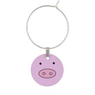 Little Piggy (Pig Face, Pig Nose) - Pink Black Wine Glass Charms