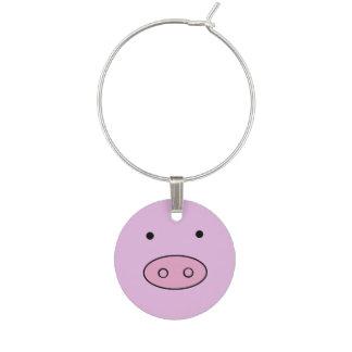 Little Piggy (Pig Face, Pig Nose) - Pink Black Wine Charm