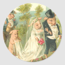 Little Piggy Wedding Classic Round Sticker