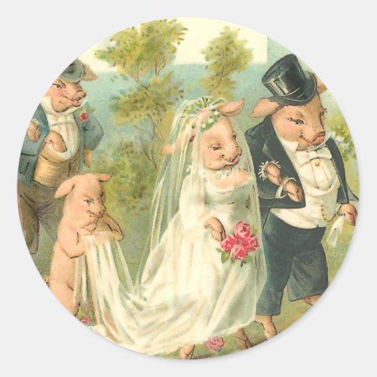 Little Piggy Wedding Classic Round Sticker