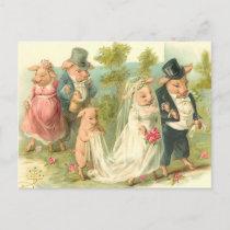 Little Piggy Wedding Postcard
