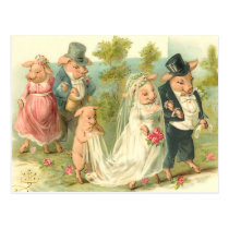 Little Piggy Wedding Postcard