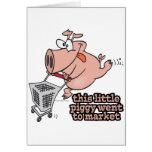 little piggy went to market cartoon greeting card