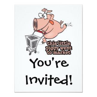 little piggy went to market cartoon 4.25x5.5 paper invitation card