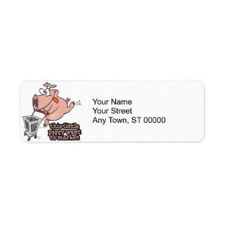 little piggy went to market cartoon label