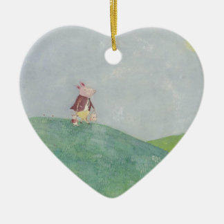 Little piglets day out Double-Sided heart ceramic christmas ornament