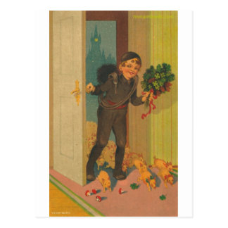 little pigs and boy postcard