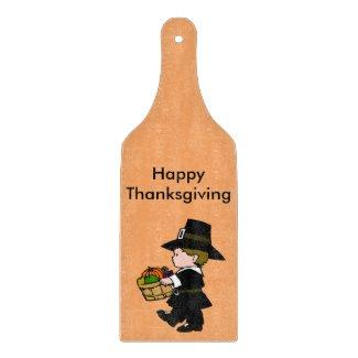 Little Pilgrim Boy Happy Thanksgiving Cutting Board