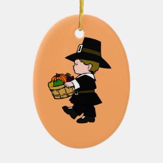 Little Pilgrim Boy Thanksgiving Ceramic Ornament