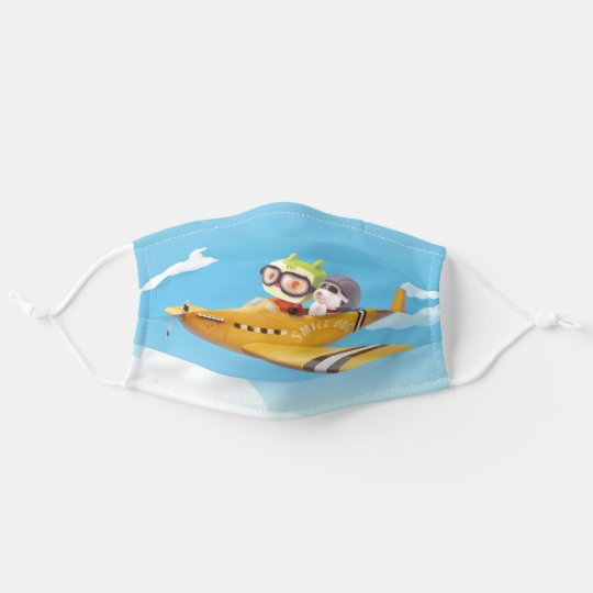 Little pilot and dog on a plane in the Sky Adult Cloth Face Mask