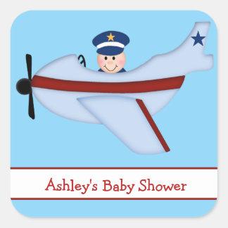 Little Pilot Baby Shower Stickers